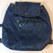 Nwt Coach  Getaway Signature Blue Nylon Backpack Book Bag F30781  Htf Photo