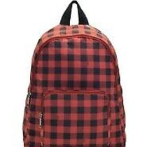 Nwt Coach Gingham Red/black Packable/ Folding Nylon Backpack Photo