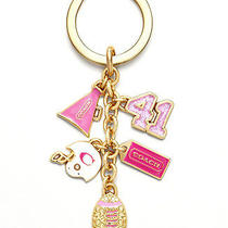 Nwt Coach Girl Football Cheerleader Charm Mix Pink Gold  Key Chain Ring 61903 Photo