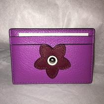 Nwt Coach Glitter Flower Flat Card Case F23780 Purple Pink Leather 5 Slots Photo