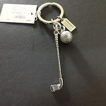 Nwt Coach Golf Club & Ball Metal Silver Keychain Key Ring Chain Fob Mens Womens Photo