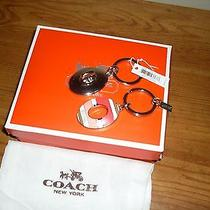 Nwt Coach Hadley Pink Striped Turnlock Valet Double Ring Key Chain Fob Accessory Photo