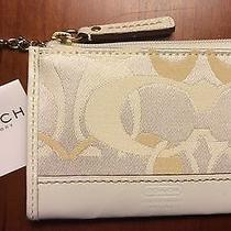 Nwt Coach Hampton Optic Signature Mini Skinny F40439 White Key Ring Coin Purse  Photo