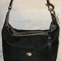 Nwt Coach Hamptons Weekend Black Nylon & Leather Hobo Tote Bag  Photo