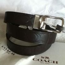 Nwt Coach Harnes Signature Embossed Leather Cut Reversible Belt One Size F66125  Photo