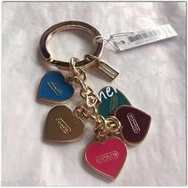 Nwt Coach Heart Charms Mix Key Chain Ring Fob 66398 Gold/pink/multi  Photo