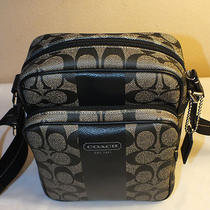  Nwt Coach Heritage Stripe Flight Bag Crossbody Messenger Black F70589 198  Photo