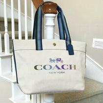 Nwt Coach Horse and Carriage Canvas Tote 91170 Natural Colorful Photo