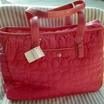 Nwt Coach Hot Pink Quilted Diaper Bag Weekender Multifunction Tote New Photo