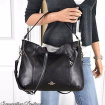 Nwt Coach Isabelle Black Pebbled Leather Shoulder Bag Handbag Purse  Photo