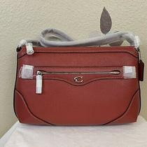 Nwt Coach Ivie Messenger Pebbled Leather Crossbody Bag Washed Red 328 72839  Photo