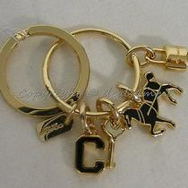 Nwt Coach Key Ring F65167 Gold Black Charm / Keychain Key Fob. Great Gift  Photo