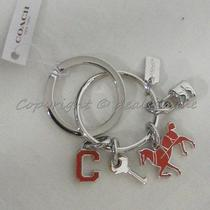 Nwt Coach Key Ring F65167 Silver Red Charm / Keychain Key Fob. Great Gift  Photo
