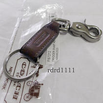 Nwt Coach Keychain Mahogany Silver Leather Trigger 2-in-1 Valet Key Ring Fob New Photo