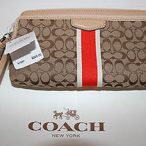 Nwt Coach Khaki & Hot Orange Signature Double Zip Wrist Wallet Photo