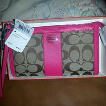 Nwt-Coach Khaki Magenta/pink Signature Zippy  Wallet 48625b Skhmj  Photo