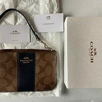 Nwt Coach Khaki / Midnight Signature Wristlet F52860 Leather Trim Zip New in Box Photo