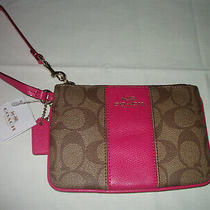 Nwt Coach Khaki Signature Pink Ruby Wristlet F52860 Leather Trim Zip Photo
