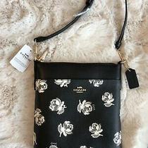 Nwt Coach Kitt Black Floral Print Messenger Crossbody Bag 79686 Photo