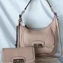 Nwt Coach Kristin 19314 Woven Leather Hobo Tuberose & 47485 Checkbook Wallet Set Photo
