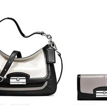 Nwt Coach Kristin Spectator Crossbody Purse & Wallet Black White Leather Handbag Photo
