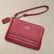 Nwt Coach Lacquer Rivet Corner Zip Wristlet Black Cherry (Red) Leather 64252 Photo