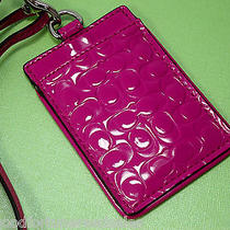 Nwt Coach Lanyard Card Holder Case Id Badge Pass Embossed Patent Magenta 64097 Photo