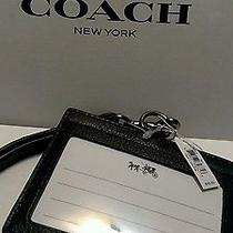 Nwt Coach  Lanyard Id Holder in Soft Calf Leather Black F63629 Dad Gift  Photo