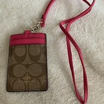Nwt Coach Lanyard Signature Pvc Id Khaki Ruby Pink Badge Holder F63274 Imcmy Photo