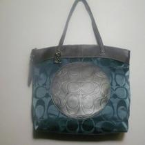 Nwt Coach Laura Nylon Large Tote Sv / Teal / Charcoal F19440 Photo