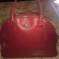 Nwt Coach Leather Red Satchel Tote Shoulder Bag Handbag Crossbody Purse Photo