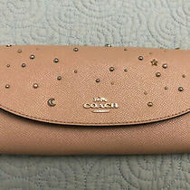 Nwt Coach Leather Slim Envelope Wallet Clutch Celestial Stud - Nude Pink 295 Photo