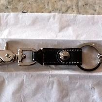Nwt Coach Leather Trigger Snap Key Ring Fob Black Silver 92354 Photo
