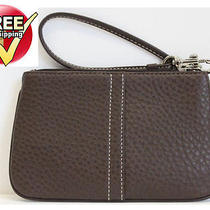 Nwt Coach Leather Wristlet Bag in Mahogany 42389 Photo