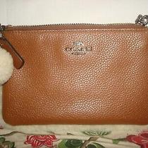 Nwt Coach Leather Wristlet Purse Saddle With Shearling Trim Pom Pom Photo