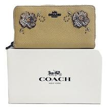 Nwt Coach Leather Zip Around Wallet W/ Floral Sequins Detail Beechwood Gunmetal Photo