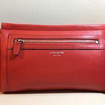 Nwt Coach Legacy Leather Large Clutch/wristlet 48021 (Color Carnelian) Photo