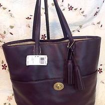 Nwt Coach Legacy Leather Turnlock Tote Style 26461 Black Violet Photo