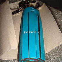 Nwt Coach Legacy Leather Ultraviolet Teal Tassel Charm Key Ring Chain Fob New Photo