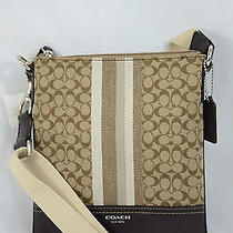 Nwt Coach Legacy Signature Stripe Swingpack 48001 Khaki Mahogany Photo