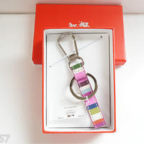 Nwt Coach Legacy Stripe Loop Key Ring 62730b / Multicolor Photo