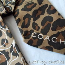 Nwt Coach Leopard Ponytail Brown 100% Silk Scarf Bag Purse F 83042 Msrp 38 Photo
