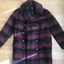 Nwt Coach Long Plaid Peacoat Jacket F86235 Dark Cranberry Size Xs 675 Photo