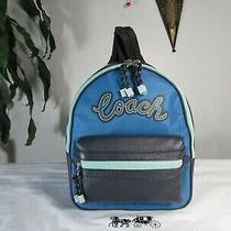 Nwt Coach Lylon Leather Vale Medium Charlie Backpack F76647 Cerulean Multi Photo