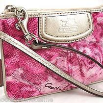 Nwt Coach Madison Floral Pink Sateen Id Wristlet Clutch Metallic Leather 47595 Photo