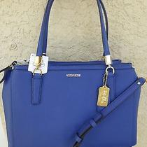 Nwt Coach Madison Lacquer Blue Christie Saffiano Leather Carryall Bag 298 Photo