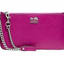 Nwt Coach Madison Leather Chain Wristlet Magenta 47930  Photo