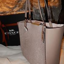 Nwt Coach Madison Lizard Emb Bonded Fawn Leather Tote Shoulder Bag 28171  Gift Photo