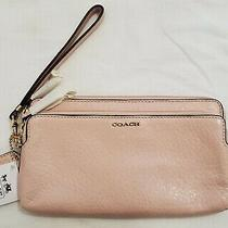 Nwt Coach Madison Pebbled Leather Double Zip Wallet Style 50468 Pink Photo