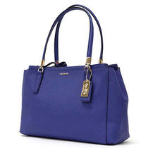 Nwt Coach Madison Saffiano Leather Small Christie Carryall Lacquer Blue 30128 Photo